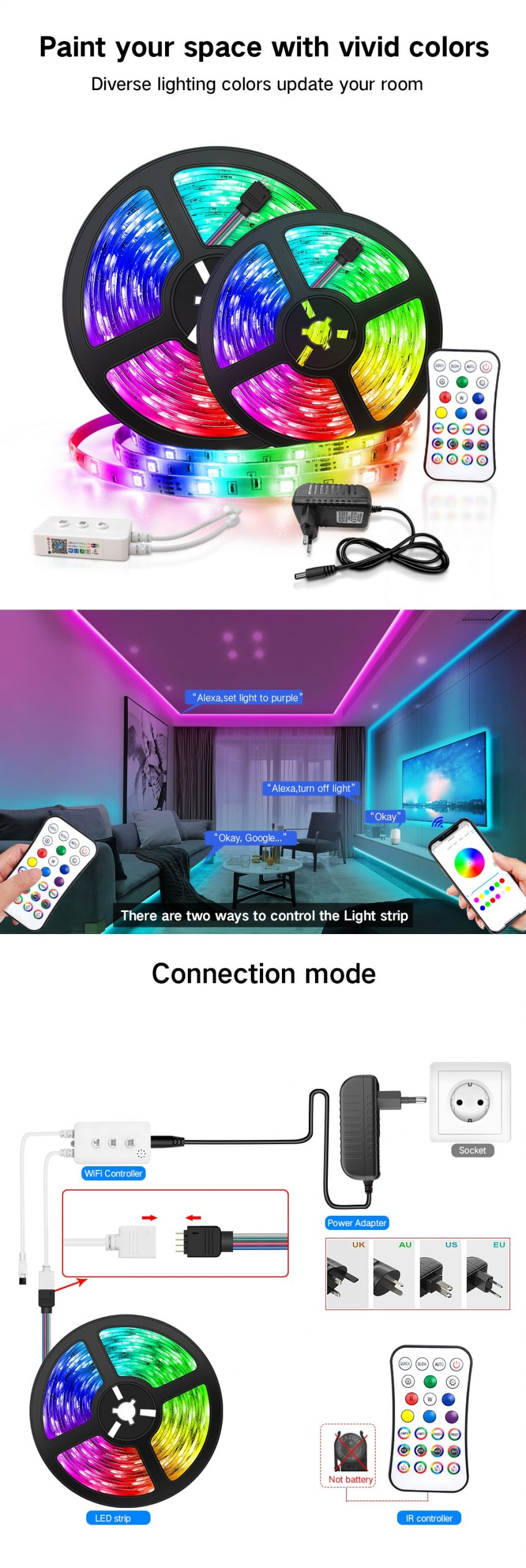 LED Strip Lights with Color Changing RGB